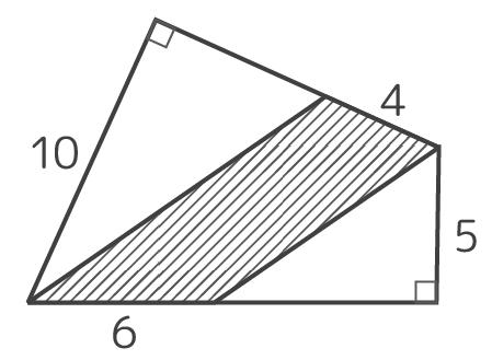 対角が直角の四角形の中の斜線部を求める問題