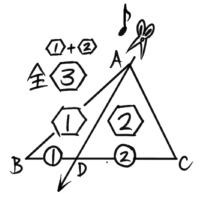 三角形を頂点から底辺へ1回切る分割方法。底辺比と面積比が等しくなる。